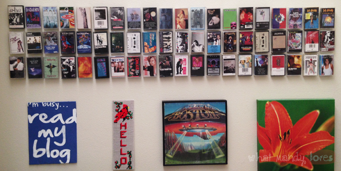What Mandy Loves: Image of my cassette tape collection on the wall via www.whatmandyloves.com